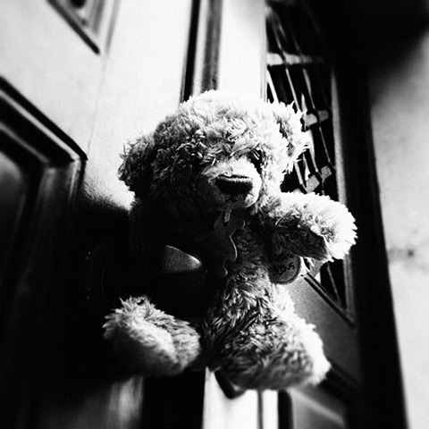 The unlucky bear on the ministerial door knob