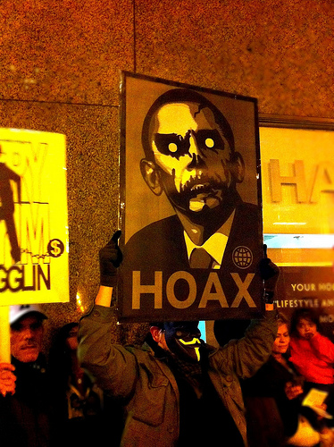 Occupy Chicago. Obama=Hoax Sign. Photo by Anna Aaron - PhotoSchmoto, taken with an iPhone 4.