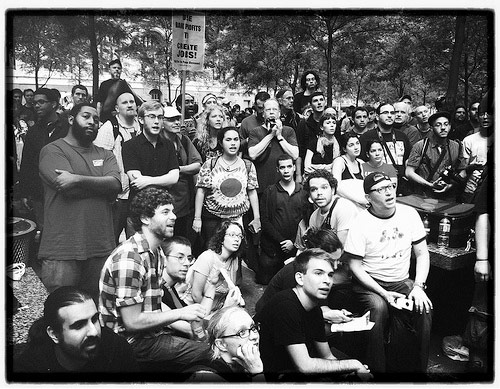 We Will All Be Arrested... But It Will Be Alright. Occupy Wall Street. Zuccotti Park, NYC. Photo by Sion Fullana, taken with an iPhone.