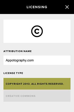 VSCO Cam 2.1 Custom Copyright Notice